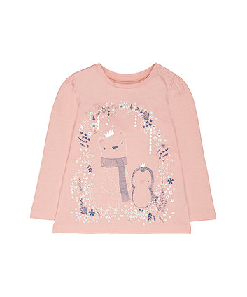 Mothercare Pink Penguin And Polar Bear T-Shirt