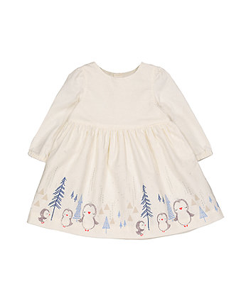 Mothercare Cream Cord Penguin Border Dress