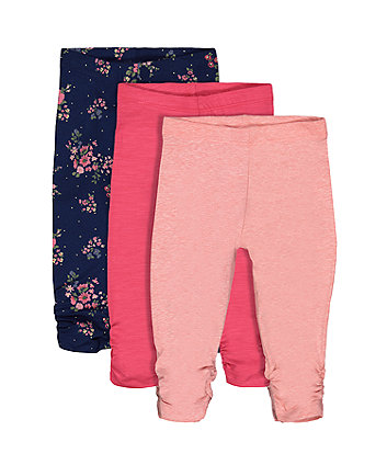 Pink Floral Leggings - 3 Pack