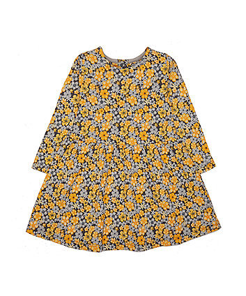 Mothercare Yellow And Grey Floral Dress
