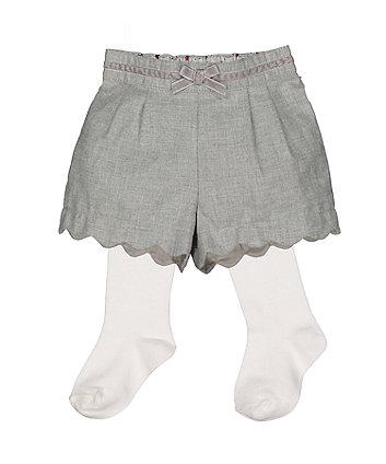 Grey Shorts And Tights Set