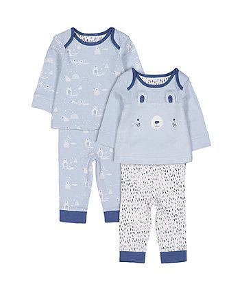 Mothercare Blue Polar Bear Pyjamas - 2 Pack