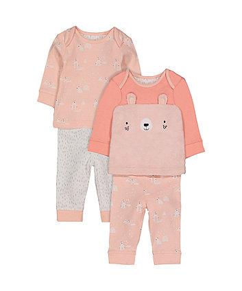 Mothercare Pink Polar Bear Pyjamas - 2 Pack