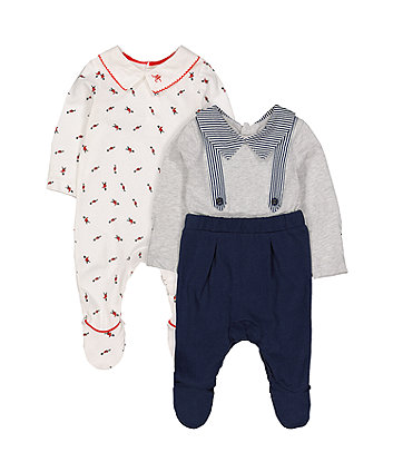 Mothercare Soldier Sleepsuits - 2 Pack