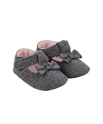 Mothercare Grey Bow T-Bar Pram Shoes