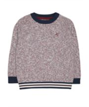 Navy And Red Knit Jumper