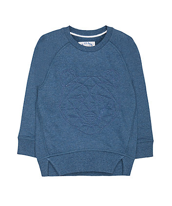 Blue Geo Bear Sweat Top