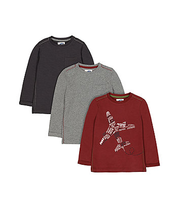Maroon And Grey Plane T-Shirts - 3 Pack