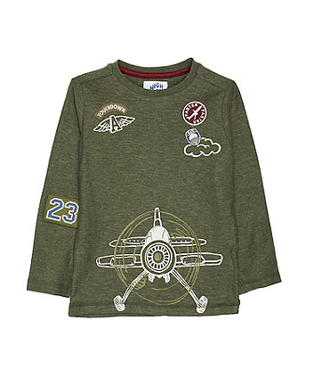 Mothercare Green Plane Badge T-Shirt