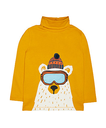 Mustard Polar Bear Roll Neck T-Shirt