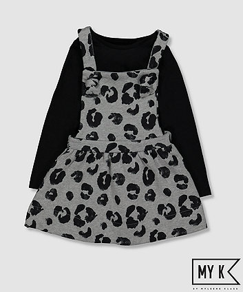 Mothercare My K Leopard Print Pinny Dress And T-Shirt Set