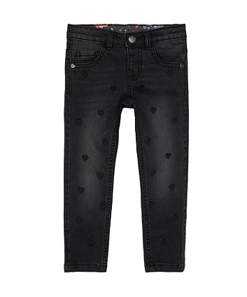Black Heart Embroidered Jeans