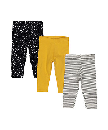 Black Polka Dot Leggings - 3 Pack