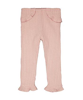 Pink Ribbed Leggings