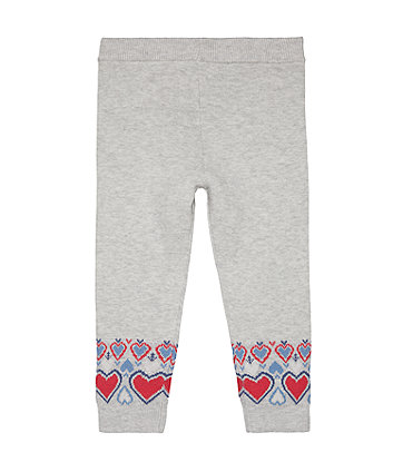 Grey Fairisle Knit Leggings