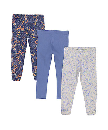 Blue Floral Leggings - 3 Pack