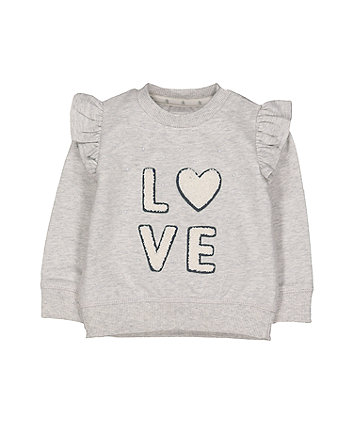 Grey Love Frill Sweat Top