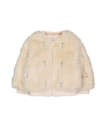 Mothercare Cream Faux Fur Bomber Jacket