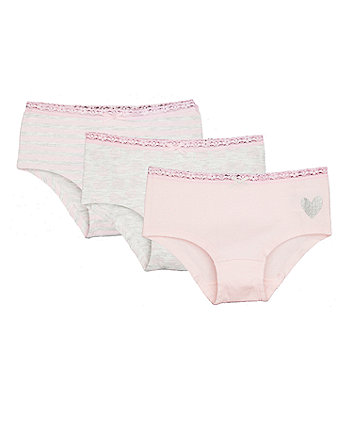 Pink Heart And Stripe Hipster Briefs - 3 Pack