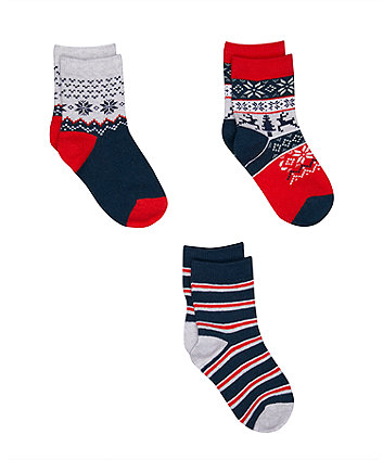 Mothercare Fairisle Socks - 3 Pack