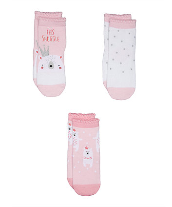 Pink Polar Bear Socks - 3 Pack