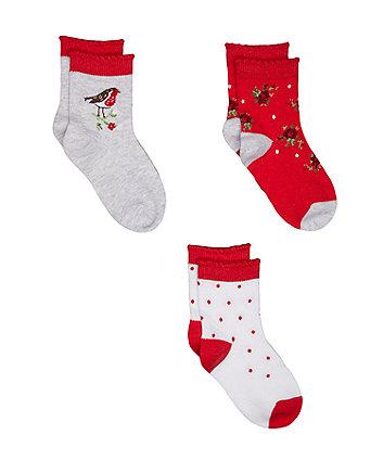 Mothercare Red Robin Socks - 3 Pack