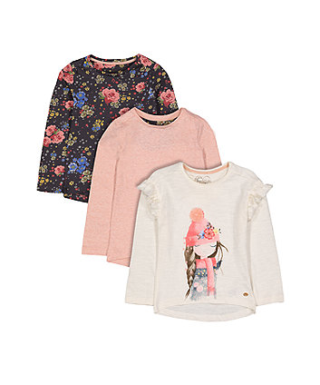 Winter Floral T-Shirts - 3 Pack