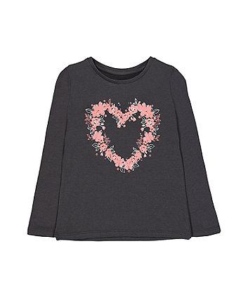Grey Floral Heart T-Shirt