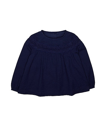 Mothercare Navy Crochet Blouse