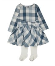 Mothercare Blue Check Dress And Tights Set