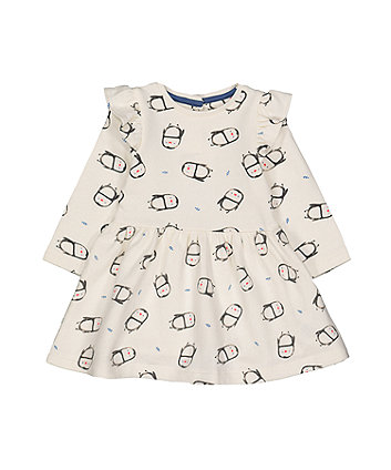 Mothercare Cream Penguin Sweat Dress With Tights Set