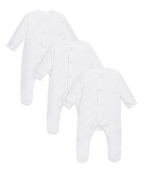 My First White Sleepsuits - 3 Pack
