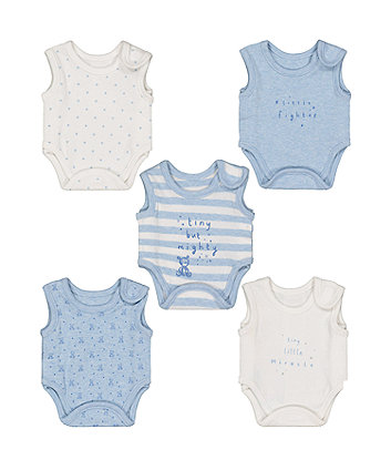 Blue Premature Baby Bodysuits - 5 Pack