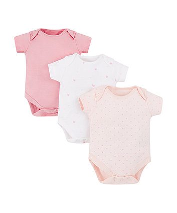 Mothercare Pink Heart And Spot Bodysuits - 3 Pack