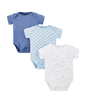 Mothercare Blue Star And Car Bodysuits - 3 Pack