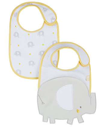 Mothercare Elephant Newborn Bibs - 2 Pack
