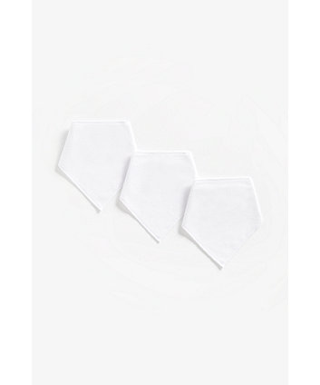 Mothercare Newborn White Dribbler Bibs - 3 Pack