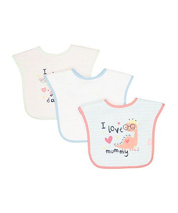 Mothercare Mummy And Daddy Weaning Bibs - Pink