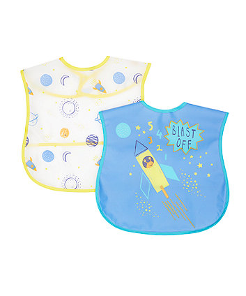 Mothercare Blast Off Crumb Catcher Bibs - 2 Pack