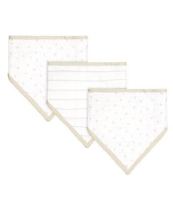 Mothercare Grey Star Muslin Dribbler Bibs - 3 Pack
