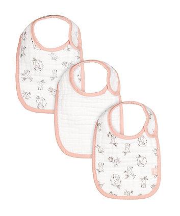 Mothercare Rabbit & Mouse Newborn Muslin Bibs - 3 Pack, Pink