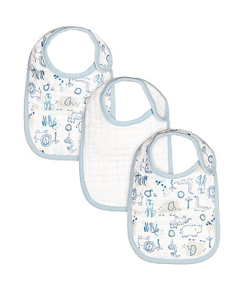 Mothercare Blue Animal Newborn Muslin Bibs - 3 Pack