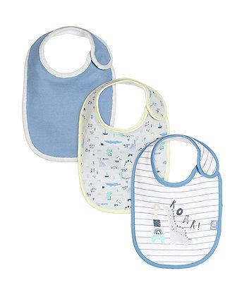 Mothercare Sleepysaurus Newborn Bibs - 3 Pack