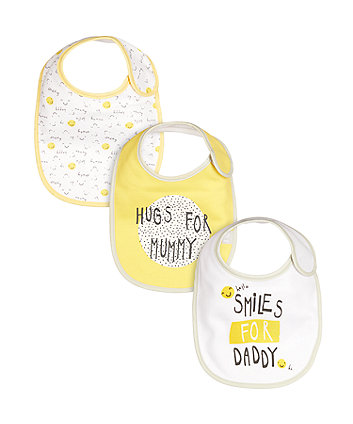 Mothercare I Love Mummy & Daddy Newborn Bibs - 3 Pack