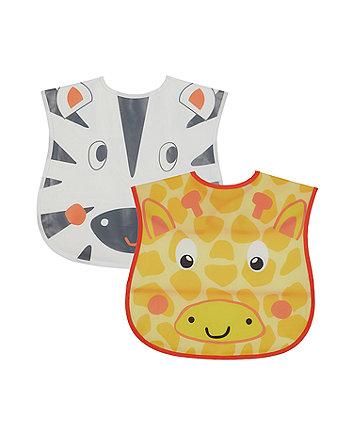 Mothercare Safari Faces Crumb Catcher Toddler Bibs - 2 Pack