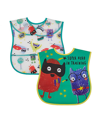 Mothercare Monster Crumb Catcher Toddler Bibs - 2 Pack