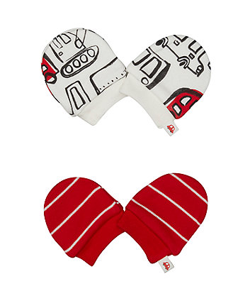 Stripe And Bus Scratch Mitts - 2 Pack