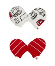 Mothercare Stripe And Bus Scratch Mitts - 2 Pack