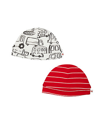 Stripe And Vehicle Hats - 2 Pack