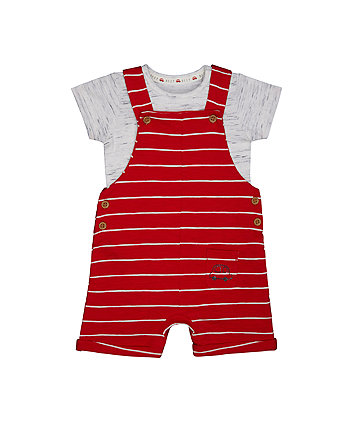 Red Stripe Bibshorts And Bodysuit Set